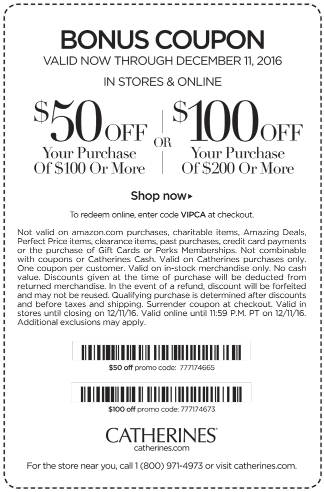 Catherines.com Promo Coupon $50 off $100 & more at Catherines, or online via promo code VIPCA