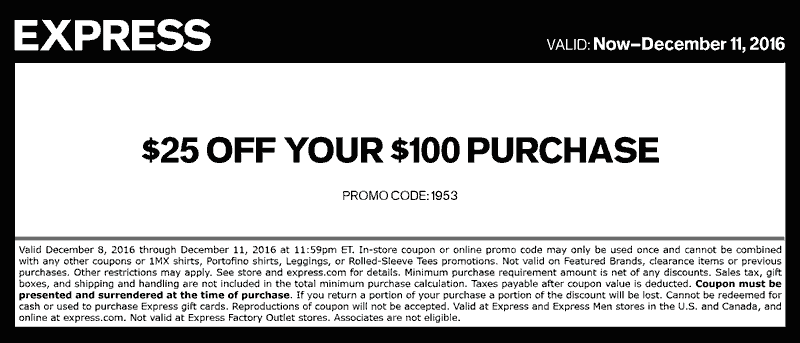 Express.com Promo Coupon $25 off $100 at Express, or online via promo code 1953