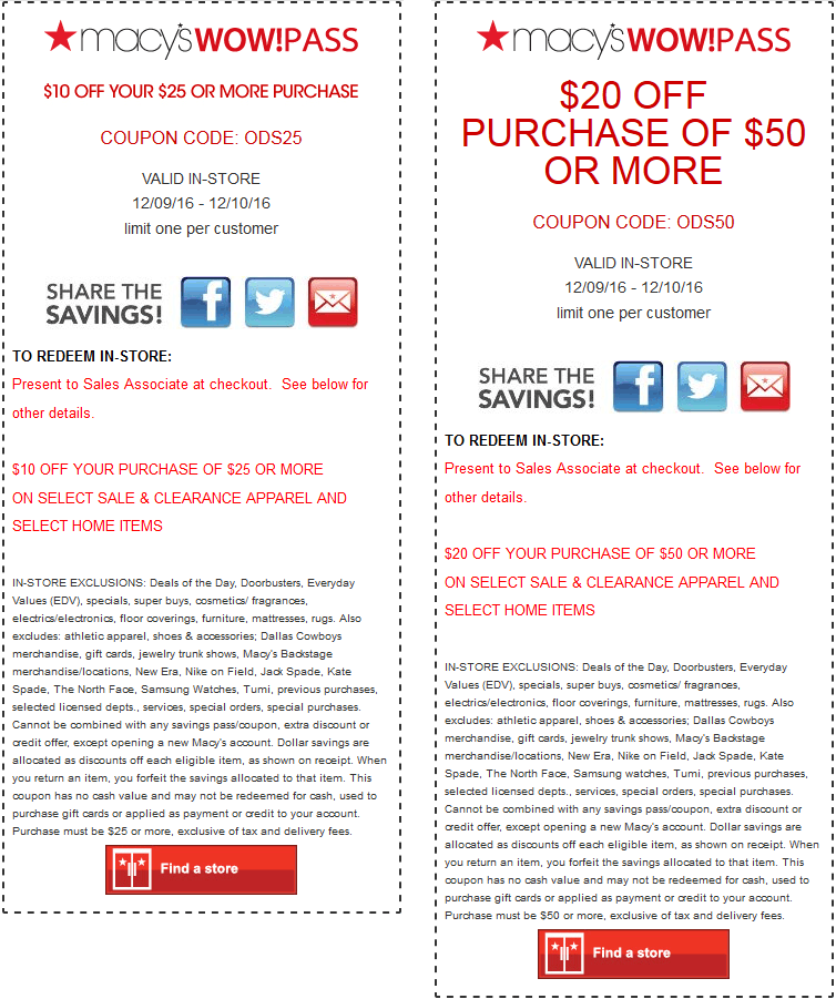 Macys.com Promo Coupon $10 off $25 & more at Macys