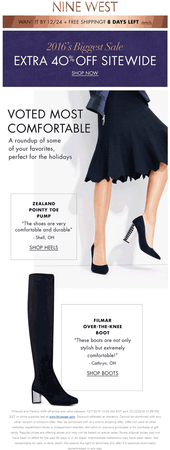 NineWest.com Promo Coupon 40% off everything online at Nine West