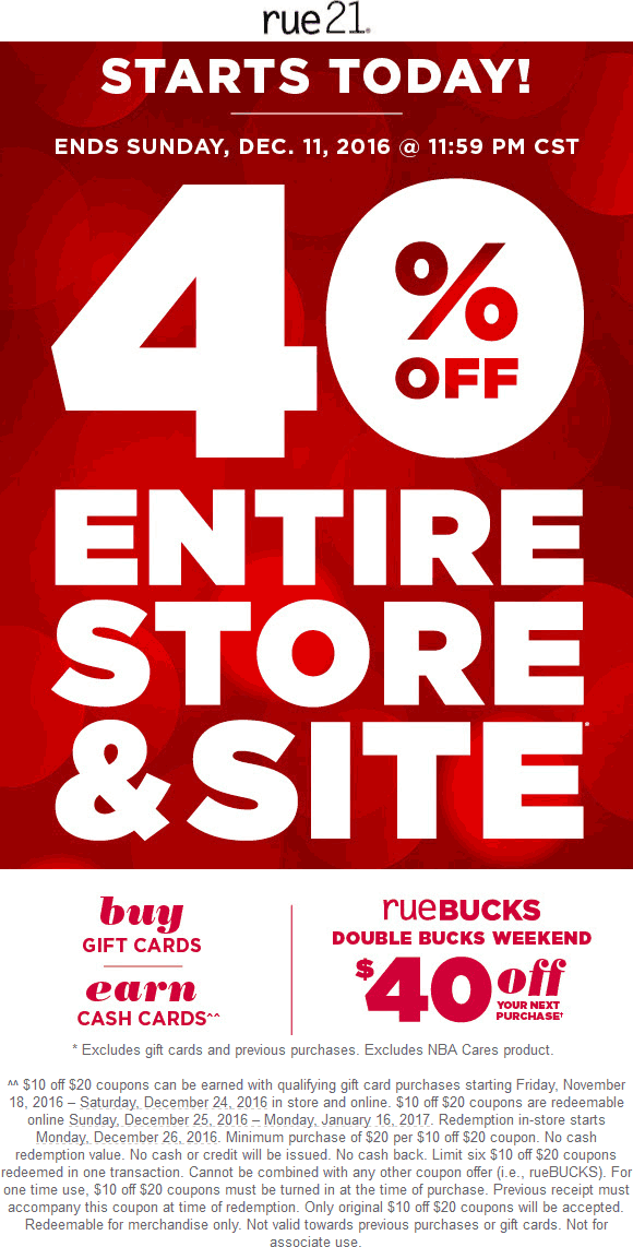 Rue21.com Promo Coupon 40% off everything at rue21, ditto online