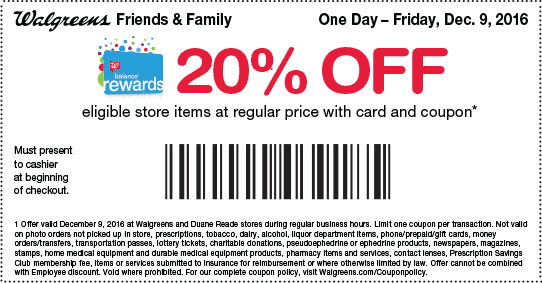 Walgreens.com Promo Coupon 20% off store items today at Walgreens & Duane Reade