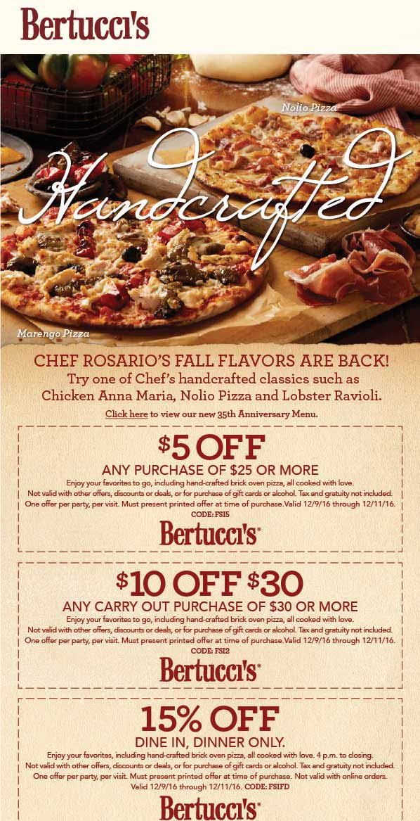 Bertuccis.com Promo Coupon $5 off $25 & more at Bertuccis restaurants