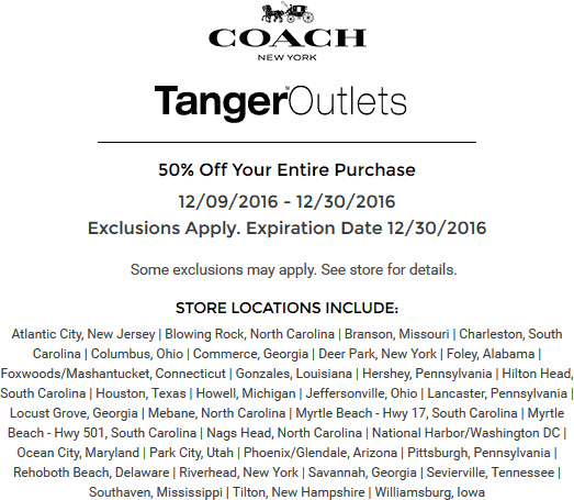 CoachFactory.com Promo Coupon 50% off everything at Coach Factory Tanger Outlets