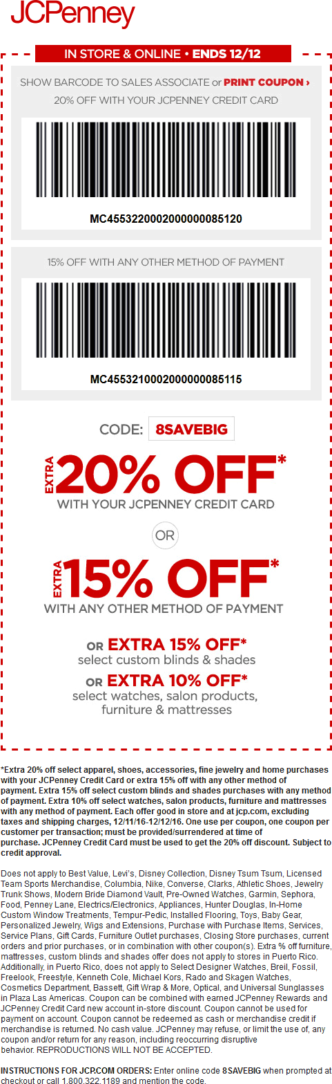 JCPenney Coupon August 2018 15% off at JCPenney, or online via promo code 8SAVEBIG