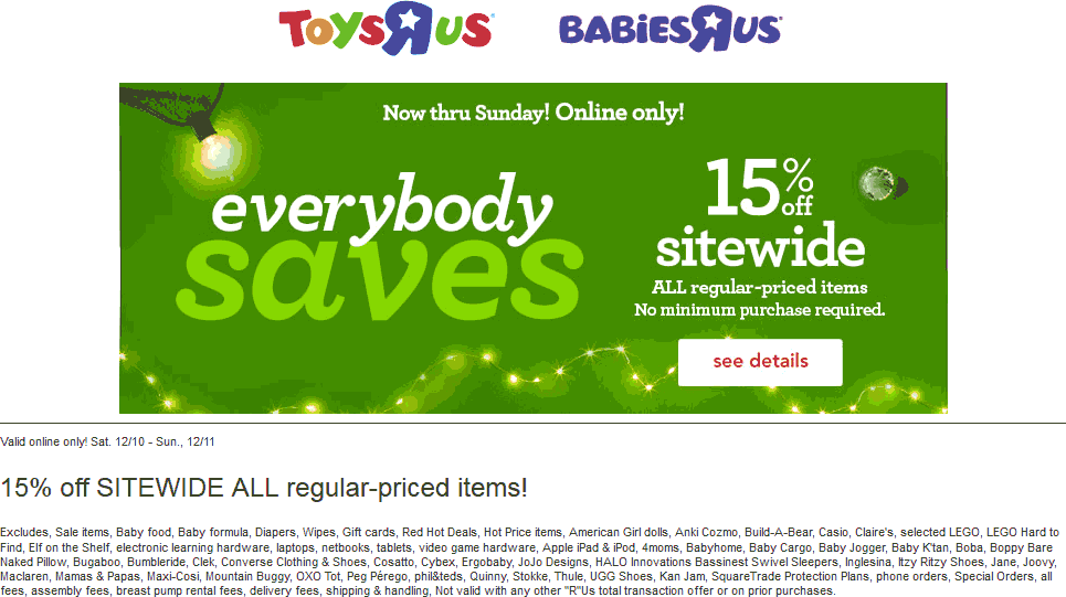ToysRUs.com Promo Coupon 15% off online today at Toys R Us & Babies R Us