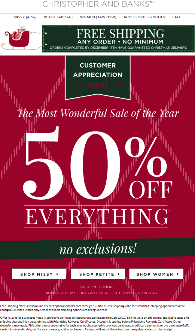 Christopher&Banks.com Promo Coupon 50% off everything today at Christopher & Banks, ditto online