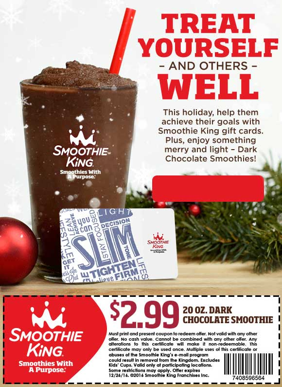 SmoothieKing.com Promo Coupon 20oz chocolate for $3 at Smoothie King
