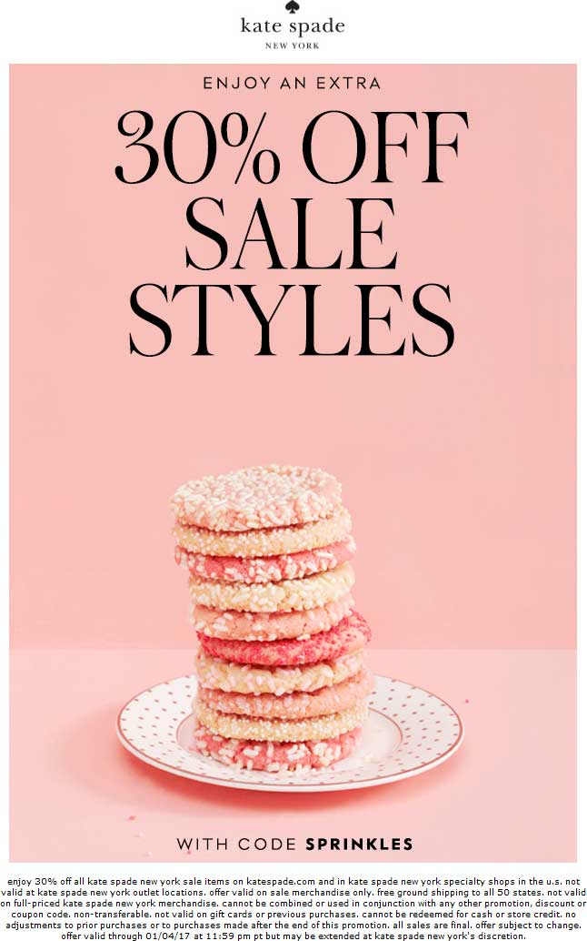 Kate Spade Coupon August 2018 Extra 30% off sale items at Kate Spade, or online via promo code SPRINKLES