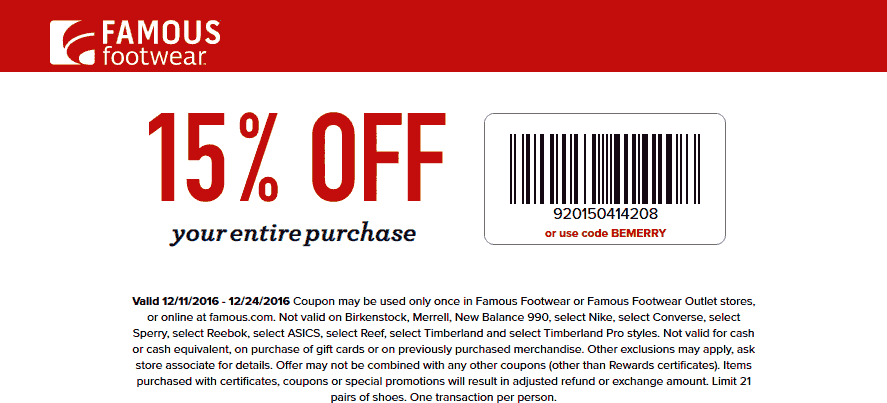 FamousFootwear.com Promo Coupon 15% off at Famous Footwear, or online via promo code BEMERRY