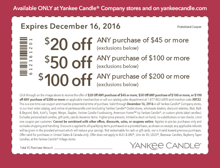 YankeeCandle.com Promo Coupon $20 off $45 & more at Yankee Candle, or online via promo code XRT32