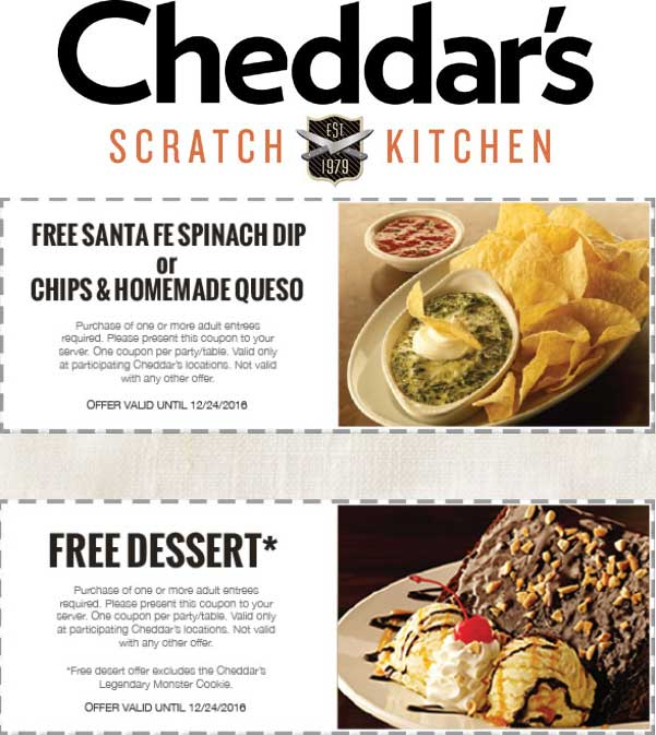 CheddarsScratchKitchen.com Promo Coupon Chips & queso or dessert free with your entree at Cheddars Scratch Kitchen