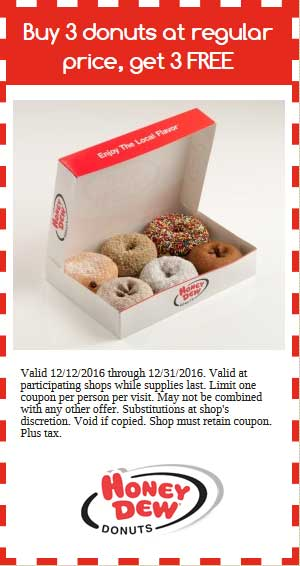 HoneyDew.com Promo Coupon 6-for-3 on donuts at Honey Dew