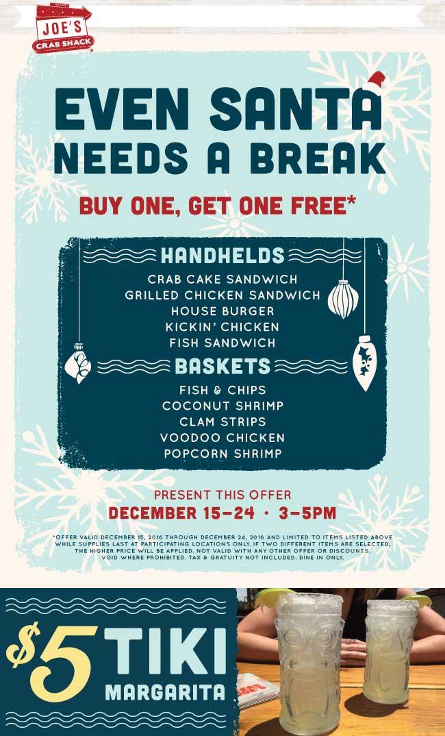 Joes Crab Shack Coupon December 2018 Second sandwich or basket free 3-5p at Joes Crab Shack