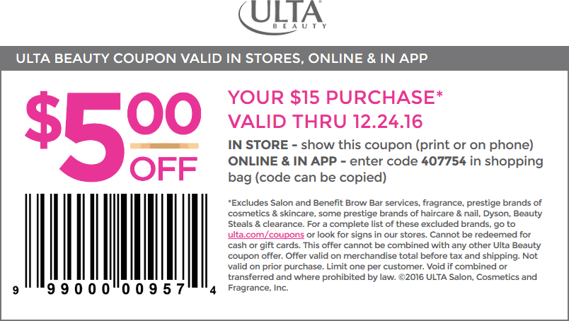 Ulta.com Promo Coupon $5 off $15 at Ulta Beauty, or online via promo code 407754