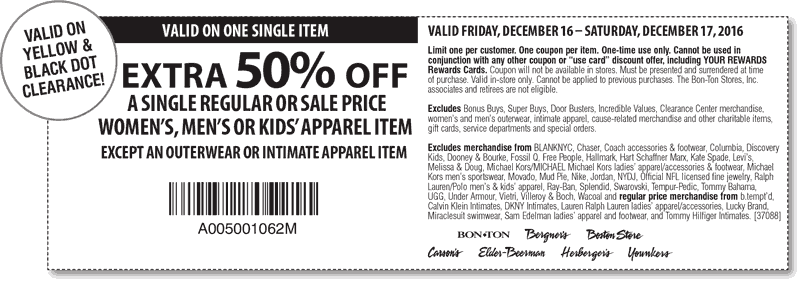 BonTon.com Promo Coupon Extra 50% off a single item today at Carsons, Bon Ton, Bergners, Boston Store, Elder-Beerman, Herbers & Younkers