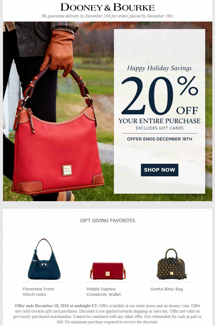 Dooney&Bourke.com Promo Coupon Extra 20% off everything at Dooney & Bourke, ditto online