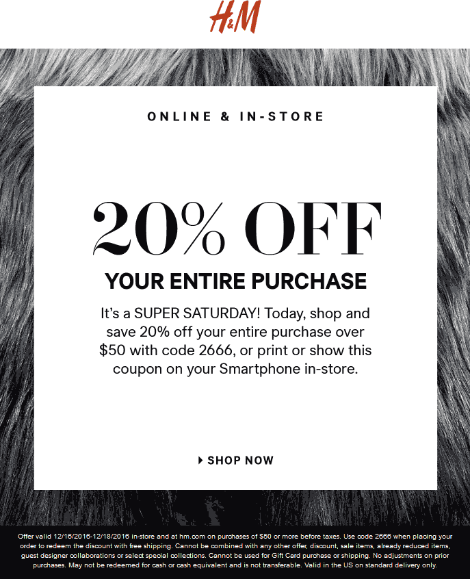 H&M.com Promo Coupon 20% off $50 at H&M, or online via promo code 2666