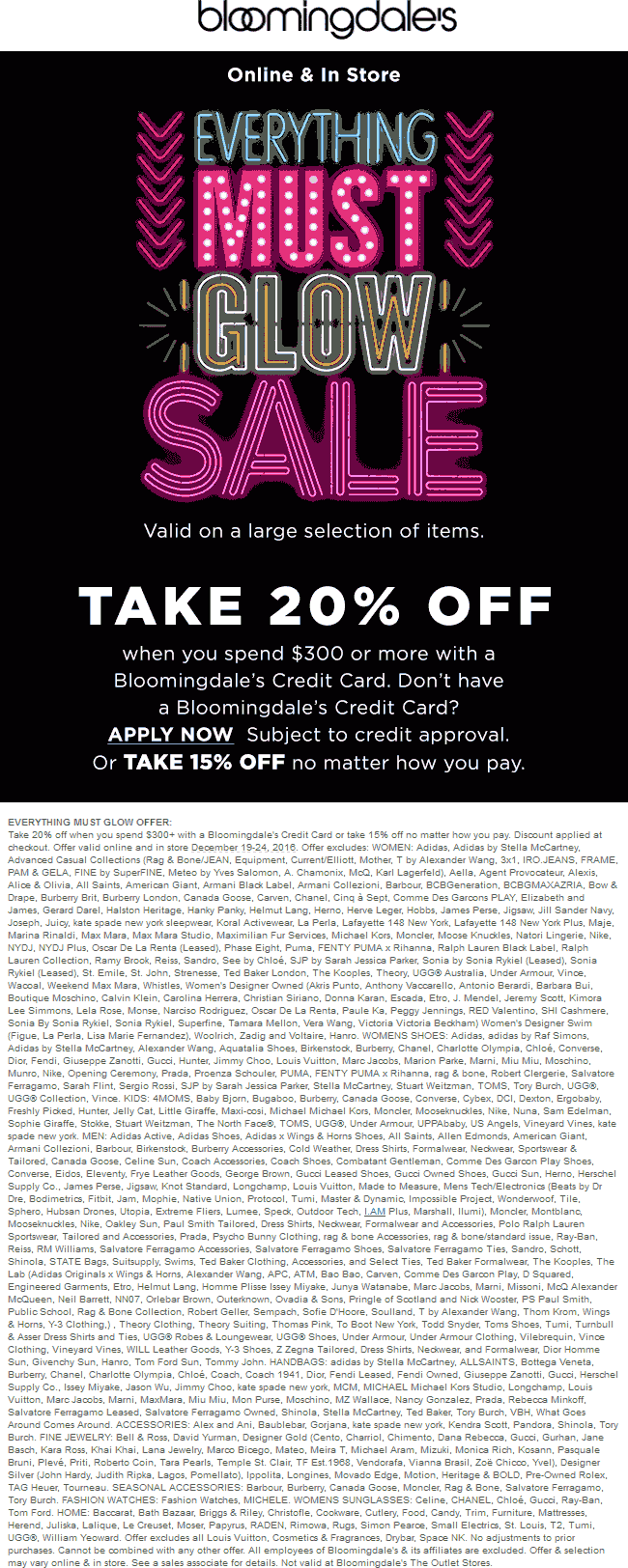 Bloomingdales.com Promo Coupon 15% off at Bloomingdales, ditto online