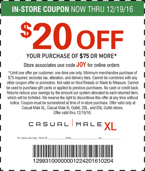 CasualMaleXL.com Promo Coupon $20 off $75 at Casual Male XL, or online via promo code JOY