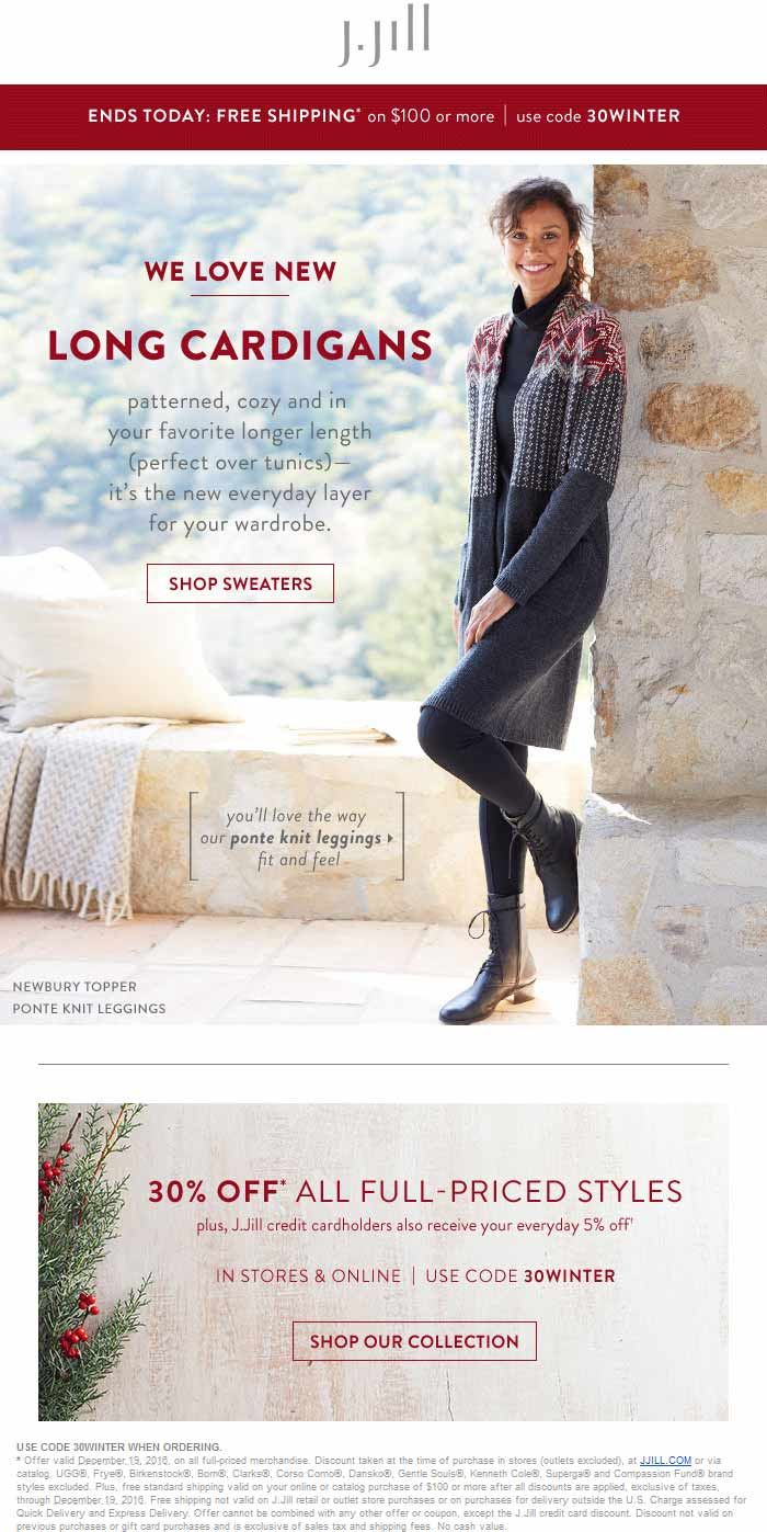 J.Jill Coupon October 2018 30% off today at J.Jill, or online via promo code 30WINTER