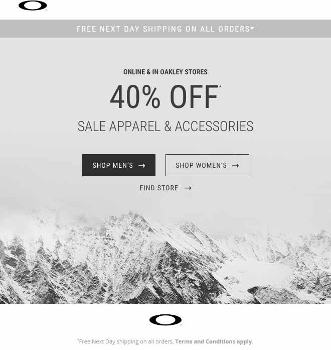 Oakley Coupon October 2018 40% off sale apparel at Oakley, ditto online