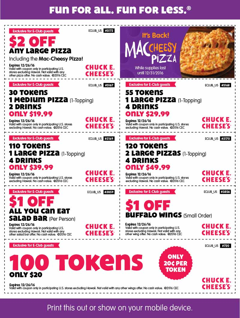 Chuck e cheese coupon code