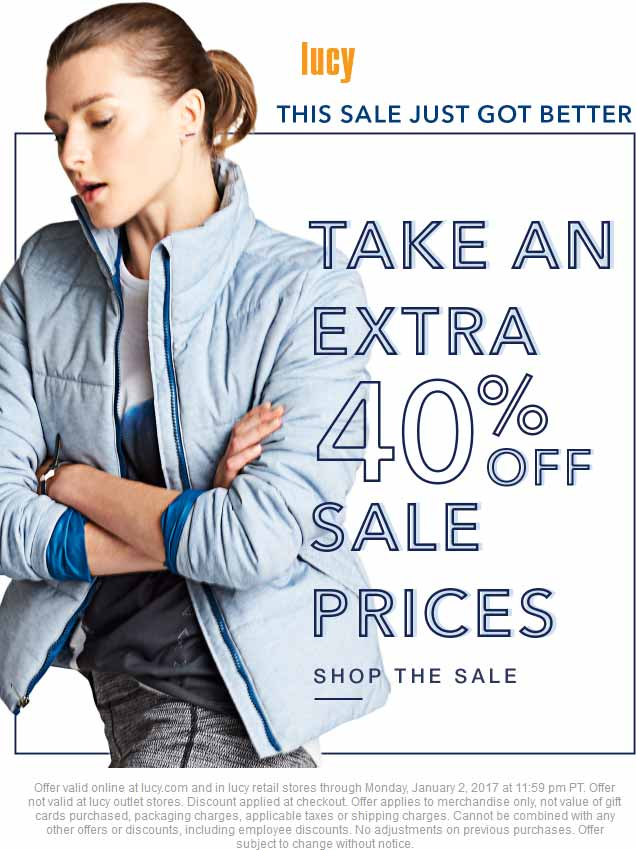 Lucy.com Promo Coupon Extra 40% off sale items at Lucy, ditto online