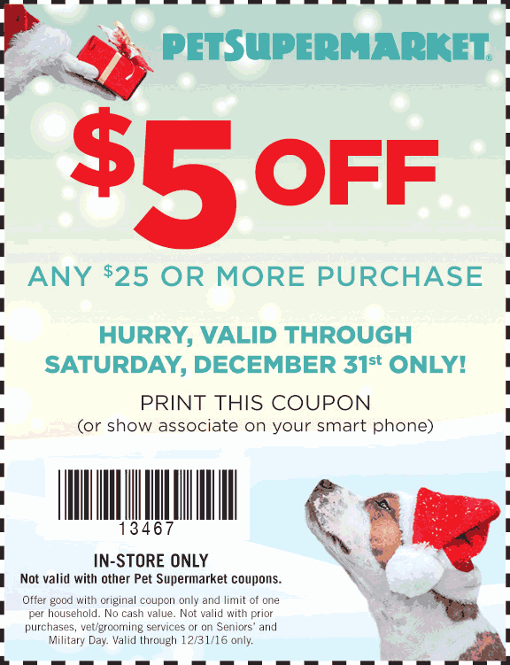 PetSupermarket.com Promo Coupon $5 off $25 at Pet Supermarket