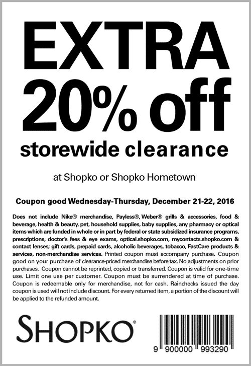 Shopko.com Promo Coupon Extra 20% off clearance today at Shopko