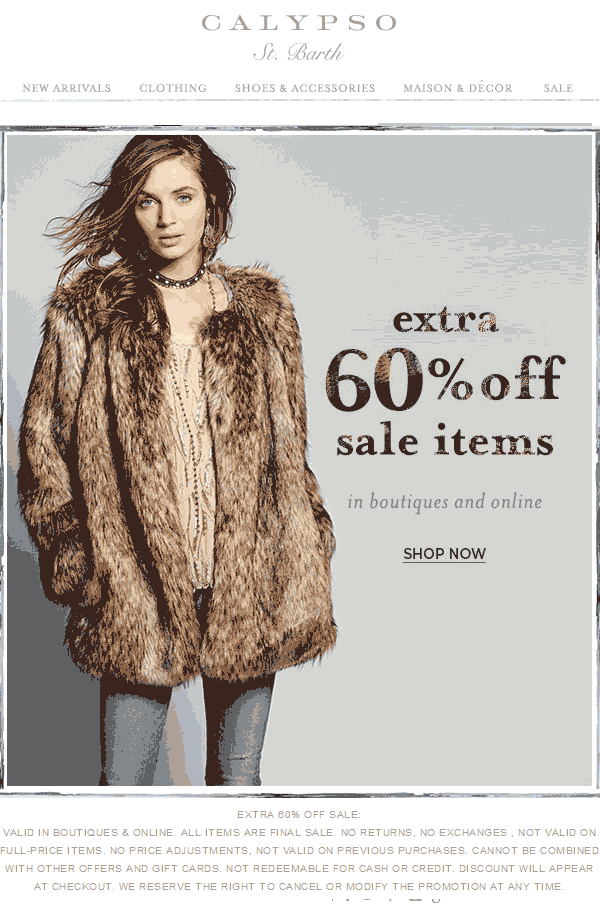 CalypsoSt.Barth.com Promo Coupon Extra 60% off sale items at Calypso St. Barth, ditto online
