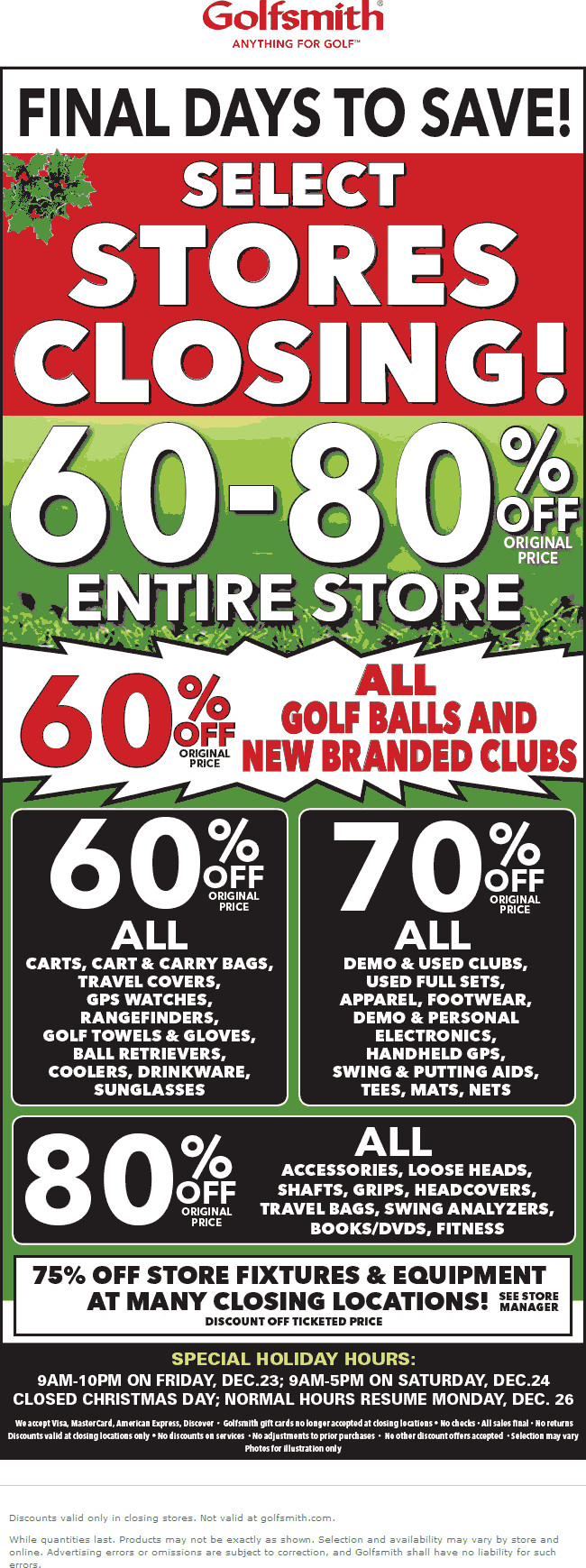 Golfsmith.com Promo Coupon 60-80% off store closing sale going on at Golfsmith