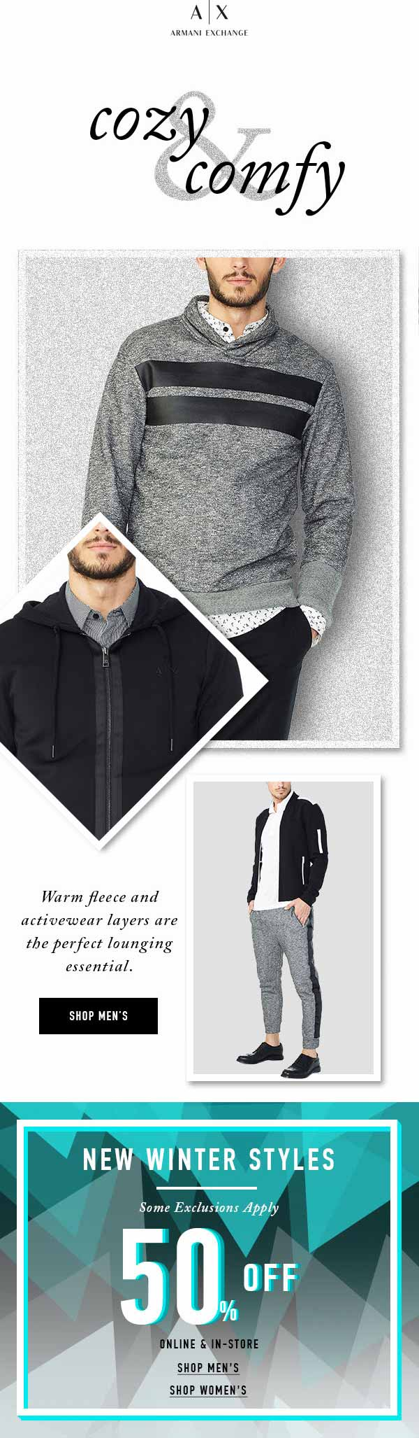 ArmaniExchange.com Promo Coupon 50% off winter styles at Armani Exchange, ditto online