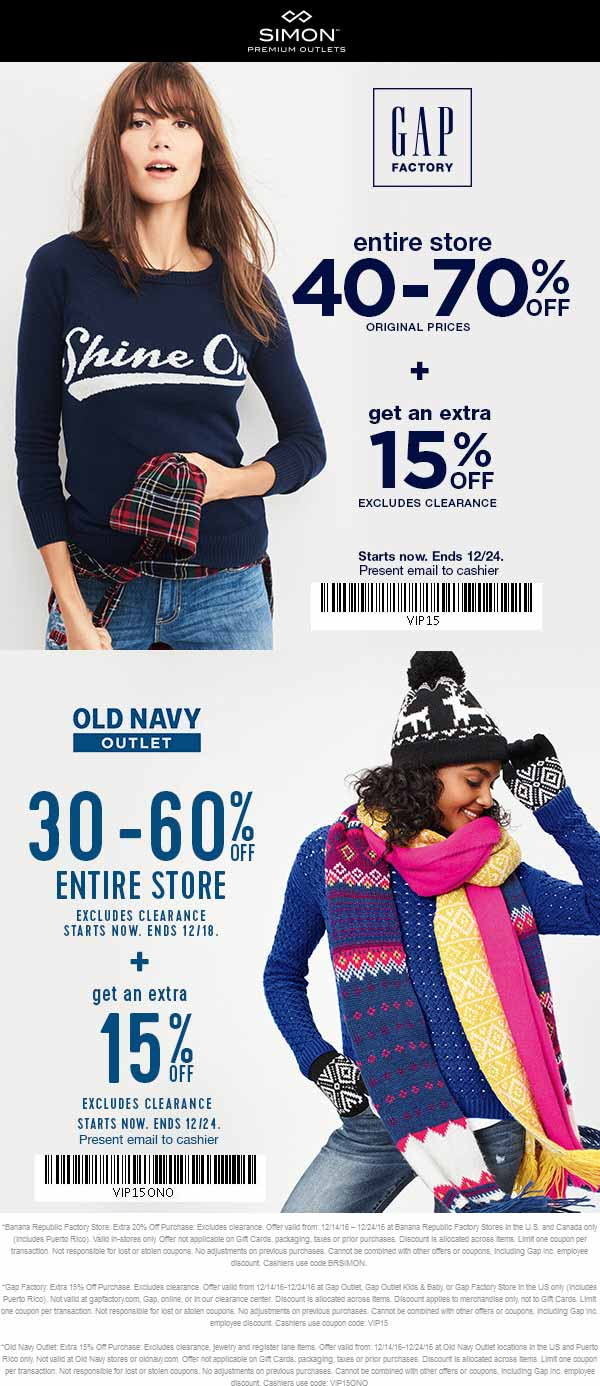 GapFactory.com Promo Coupon 40-85% off everything today at Gap Factory & Old Navy Outlet