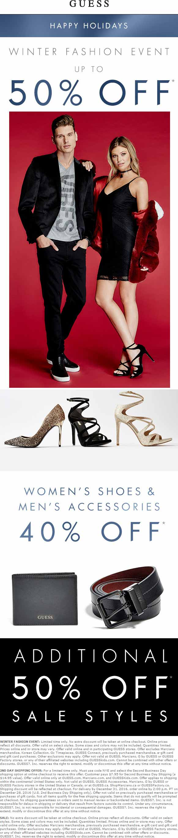 Guess Coupon March 2019 Extra 50% off sale items & more at Guess, ditto online