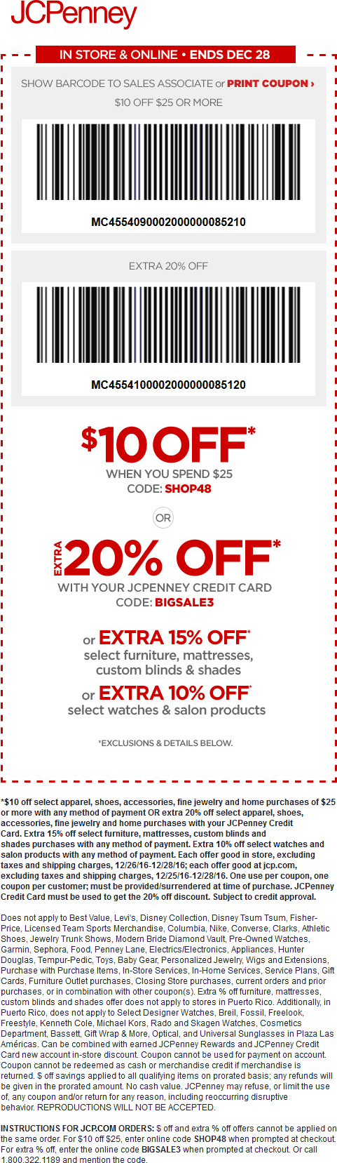 JCPenney Coupon December 2018 $10 off $25 at JCPenney, or online via promo code SHOP48