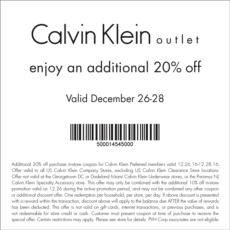 CalvinKleinOutlet.com Promo Coupon Extra 20% off at Calvin Klein Outlet