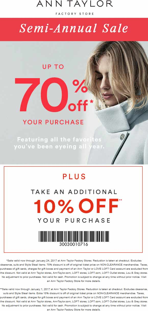 AnnTaylorFactory.com Promo Coupon Extra 10-70% off at Ann Taylor Factory