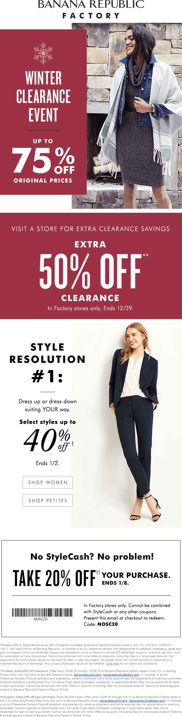 BananaRepublicFactory.com Promo Coupon 20-50% off at Banana Republic Factory