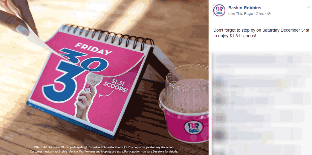 BaskinRobbins.com Promo Coupon $1.31 ice cream scoops Saturday at Baskin Robbins