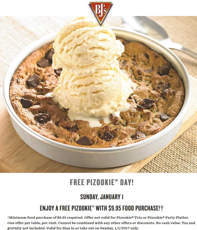 BJs Restaurant Coupon April 2019 Free pizookie with $10 spent Sunday at BJs Restaurant