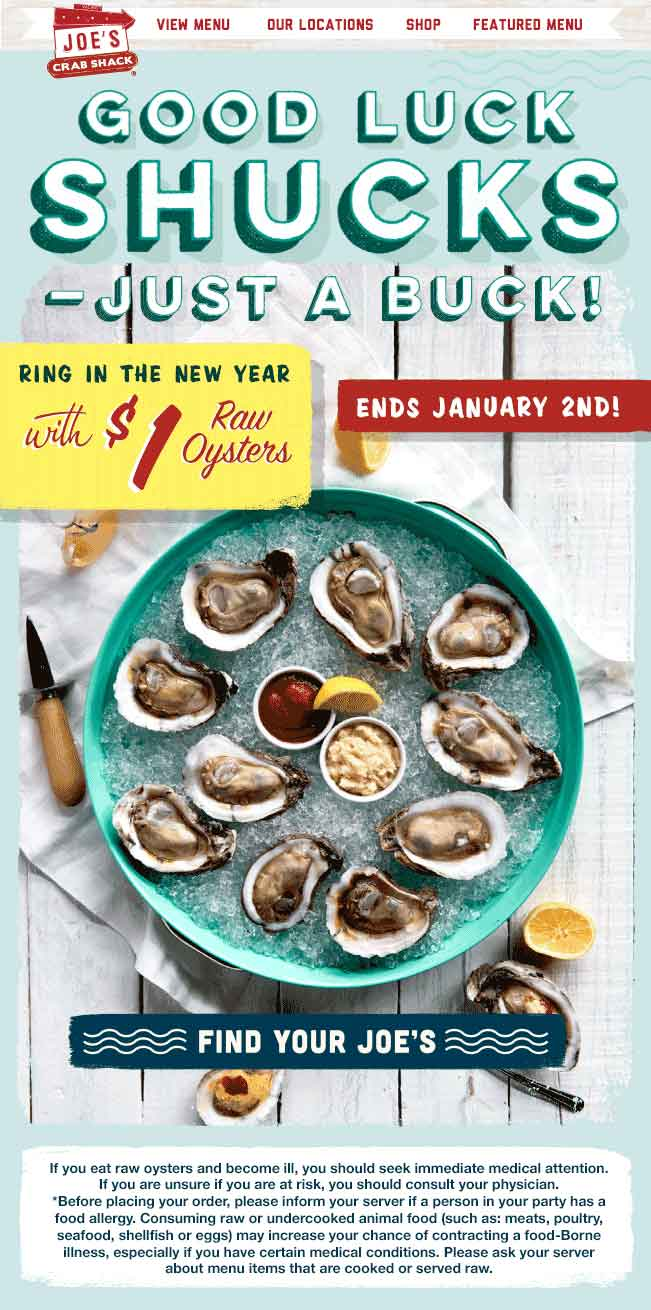 JoesCrabShack.com Promo Coupon $1 raw oysters at Joes Crab Shack restaurants