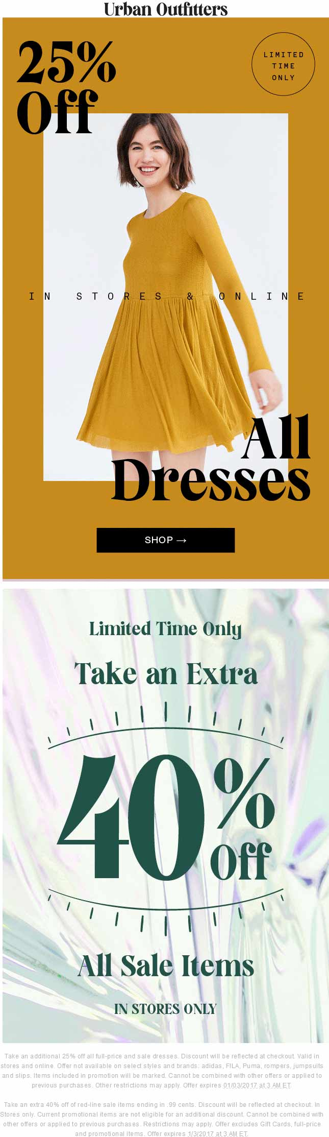 UrbanOutfitters.com Promo Coupon Extra 40% off sale items & more at Urban Outfitters, or 25% off dresses online