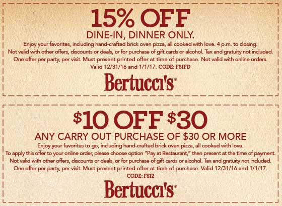 Bertuccis.com Promo Coupon 15% off & more at Bertuccis restaurants