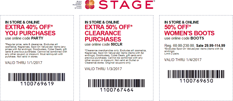 Stage.com Promo Coupon Extra 40% off at Stage stores, or online via promo code PARTY