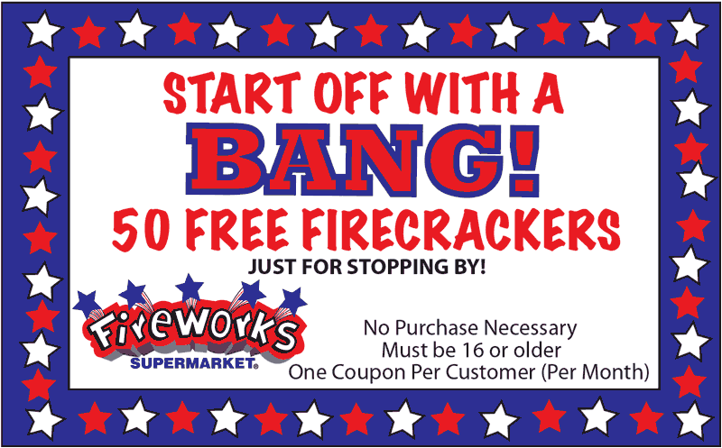 FireworksSupermarket.com Promo Coupon 50 free firecrackers at Fireworks Supermarket, no purchase necessary