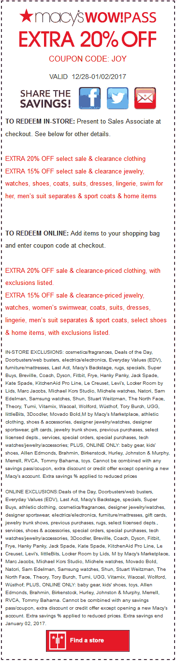 Macys Coupon August 2018 Extra 20% off sale & clearance at Macys, or online via promo code JOY