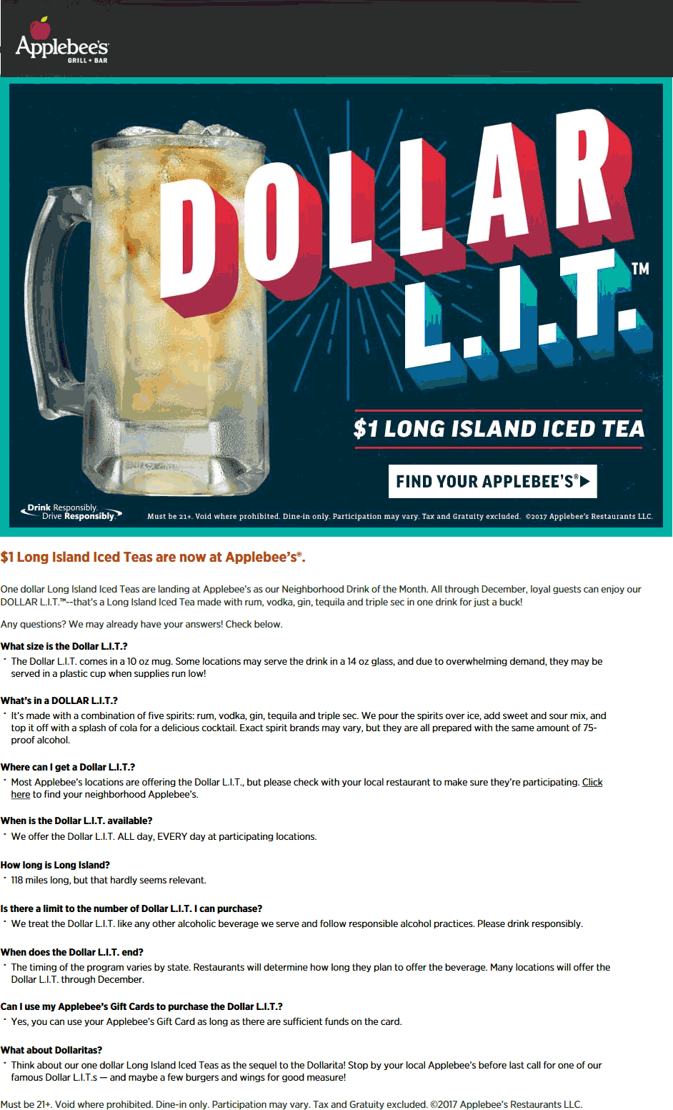 Applebees.com Promo Coupon $1 long islands all month at Applebees restaurants
