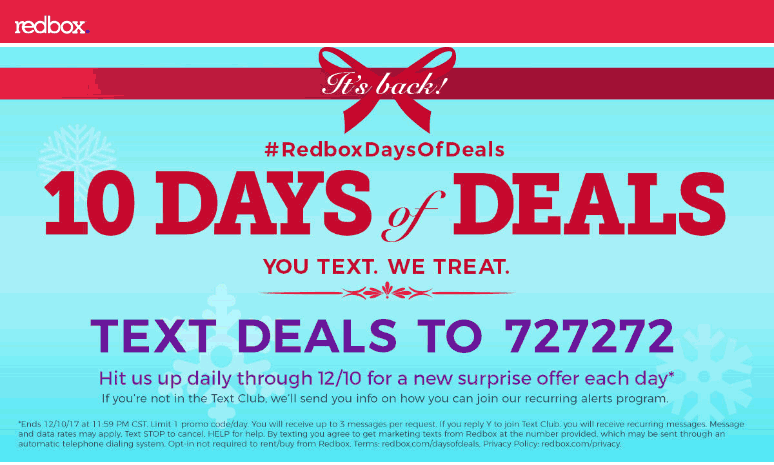 Redbox Coupon June 2018 Free rental & more via text during 10 days of deals at Redbox