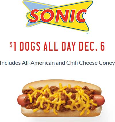 SonicDrive-In.com Promo Coupon $1 hot dogs Wednesday at Sonic Drive-In restaurants